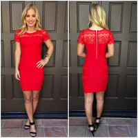 Final Rose Lace Dress - RED