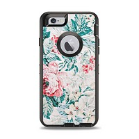 The Coral & Blue Grunge Watercolor Floral Apple iPhone 6 Otterbox Defender Case Skin Set