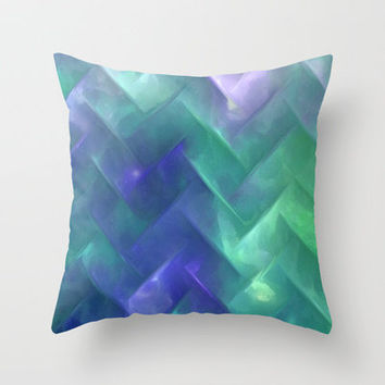 Underwater Chevron Throw Pillow by Ally Coxon | Society6