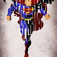 Superman Inspired Man of Steel Typographic Print and Poster