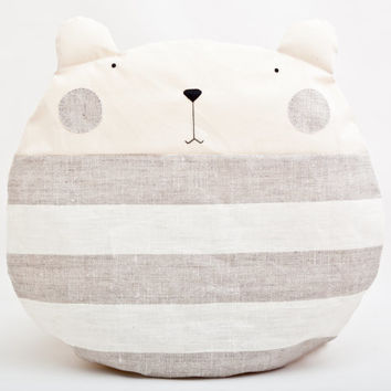 Round Pillow, Bear, Decorative Pillow