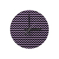 African Violet And Black Zigzag Chevron Round Wall Clocks from Zazzle.com