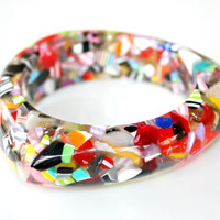 Candy Confetti Bangle Bracelet - Triangular Shaped Bangle Complete with Multicolor Acrylic Chips by Mei Faith