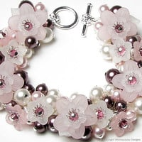 Pure Romance Pink Floral Crystal Pearl Charm by whimsydaisydesigns