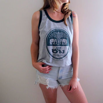 Beer Chang Thailand Tank Thai Cropped Crop Top Travel Asia Wanderlust Womens Tank Shirt Tee