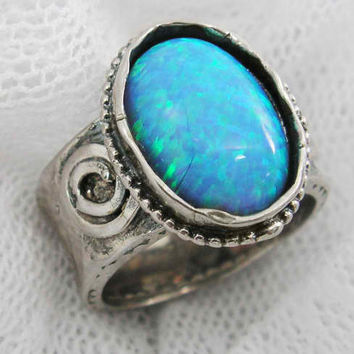 Sterling silver & Opal round top ring
