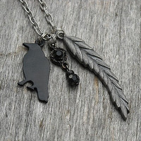 Gothic Black Raven Charm Necklace with Feather Wing Charm and Black Beads, Edgar Allan Poe, Victorian, Blackbird, Crow,
