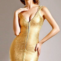 Front Zipper Gold Foil Bandage Dress