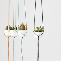 Mini Hanging Planter with Cup / Modern Macrame Planter by HRUSKAA