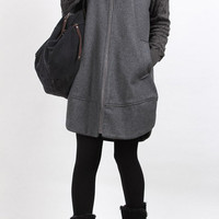 Gray Knitted sleeve hoodie wool overcoat by MaLieb on Etsy