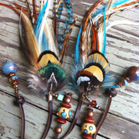 Gorgeous teal blue orange and brown braided leather feather headband belt lariat
