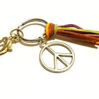 Peace Keychain, Hippie Key Ring, Colorful Leather Tassel Key Chain, Cool Inexpensive Gift Idea