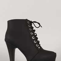Almond Toe Lace Up Platform Bootie