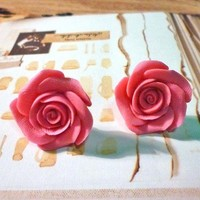 Middle Rose Earrings Pink by PaperBiscuit on Etsy