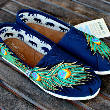 Navy Gold Peacock Feather TOMS shoes