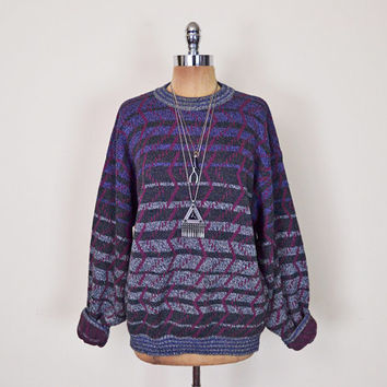 Vintage 80s 90s Abstract Sweater Jumper Cosby Sweater Oversize Sweater Slouchy Sweater Boyfriend Sweater Hipster Sweater Men Women S M L XL