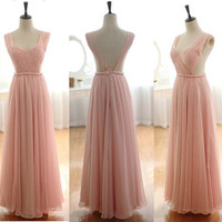 Blush Pink Backless Chiffon Prom Dress Simple Bridesmaid Dress Long Evening Dress