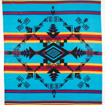 Pacific Blankets Native American Polar Fleece Blanket Gods Eye Turquoise