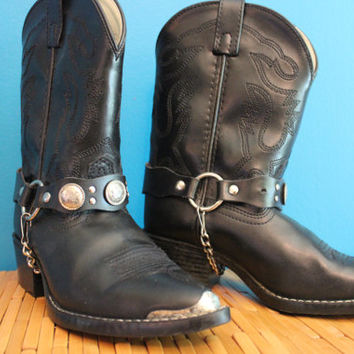 Smokey Mountain Concho Harness Western Children's Boots metal tipped size 2.5 kids,