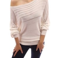 PattyBoutik Women's on / off one shoulder Semi-sheer Sweater