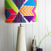 Round Lampshade - unique hand woven colourful, geometric neon shade