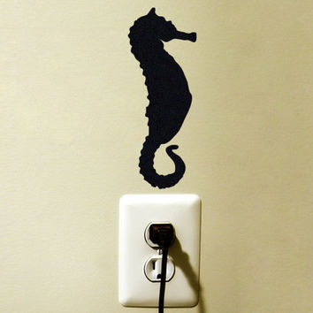 Seahorse Decor -  Velvet Nautical Nursery Wall Decal - Ocean Wall Stickers - Black Laptop Decal