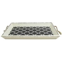 Black & White Rustic Wood Tray with Rope Handles | Shop Hobby Lobby