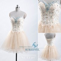 Champagne Short Mini Evening Party Dress Homecoming Dress Prom Dresses Ball Gown