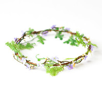 lilac woodland floral circlet / floral crown, floral crown, floral headpiece, wedding bridal headband.