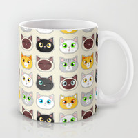 Cute Cat Expressions Pattern Mug by Cute to Boot   Society6