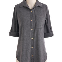 ModCloth Menswear Inspired Mid-length Short Sleeves Keep it Casual-Cool Top in Charcoal