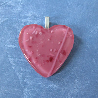 Pink Heart Pendant, Valentines Day Heart, Couples Jewelry - Crazy In Love - 3984-2