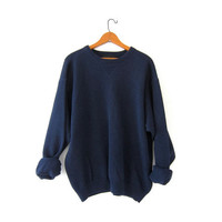 vintage navy blue sweater. slouchy sweater. cotton pullover shirt. boyfriend sweater