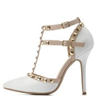 White Studded Strappy Pointed Toe Pumps by Charlotte Russe