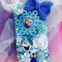iPhone 6, 4.7 and plus 5.5,~ Frozen~ Anna , Elsa,Olaf 3D Bling Glow Bow Swarovski Crystal Rhinestone Full Sparkle Kawaii case