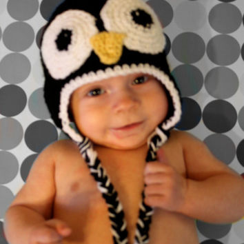 Penguin Earflap Hat for Toddler Baby or Newborns by makinitmama
