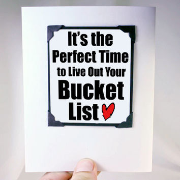 Retirement Card and Magnet Quote - Gift Magnet Card with Bucket List Quote