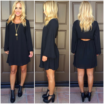 Clear As A Bell Long Sleeve Dress - BLACK