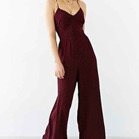 Ecote Open-Back Crinkle Wide-Leg Jumpsuit- Neutral Multi