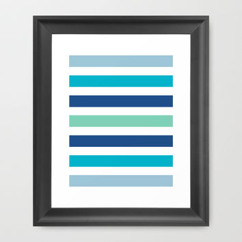 colored stripes blue Framed Art Print by Frankipeti