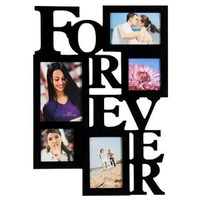 """Adeco 5-Opening Decorative Wood """"Forever"""" Collage Wall Hanging Picture Frame, 5 by 7-Inch/4 by 6-Inch/4 by 4-Inch, Black"""