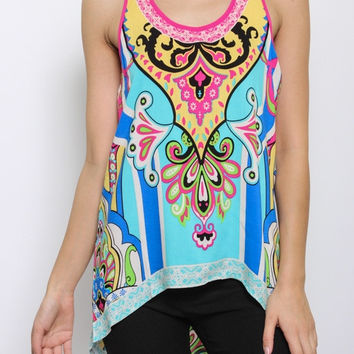 Tribal Sleeveless Tank Top Aqua
