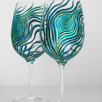 Peacock Wine Glasses--Set of 2 Hand Painted Glasses