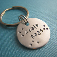 Harry Potter Accio Keys Hand Stamped Keychain by TheCopperFoxShop