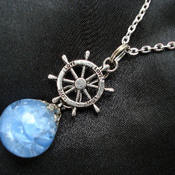 Nautical Love Rudder Blue Glass Fried Marble Chain Necklace