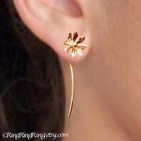 Solid 18K Gold Wild flower long stem earrings - Unique studs Jewelry gift for girlfriend, Also available in Sterling Silver
