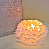 Votive Candle Holder - 3 Soft White Peony Blooms