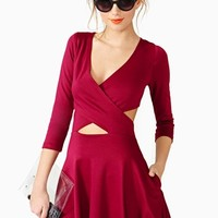 Crossed Out Skater Dress - Wine
