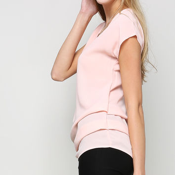 Side Shirring Chiffon Top W/Necklace