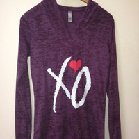 Long Sleeve  Hooded Burn Out - Hugs and Kisses